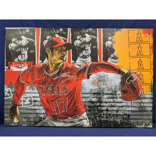 Photo of Shohei Ohtani Autographed Stephen Holland Pitching Giclée Canvas