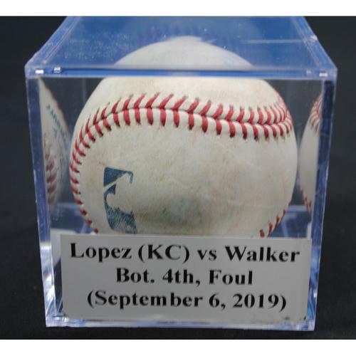 Photo of Game-Used Baseball: Jorge Lopez (KC) vs Neil Walker, Bot. 4th, Foul (September 6, 2019)