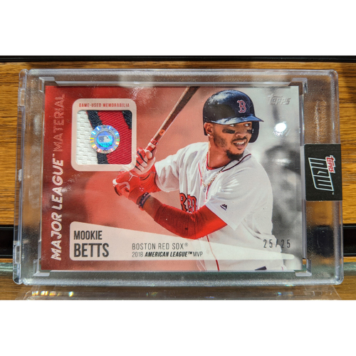 Photo of Topps Mookie Betts 2018 MVP Game Used Jersey Swatch Baseball Card 25/25