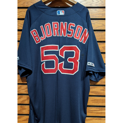 Photo of Coach Craig Bjornson #53 Team Issue Navy Road Alternate Jersey