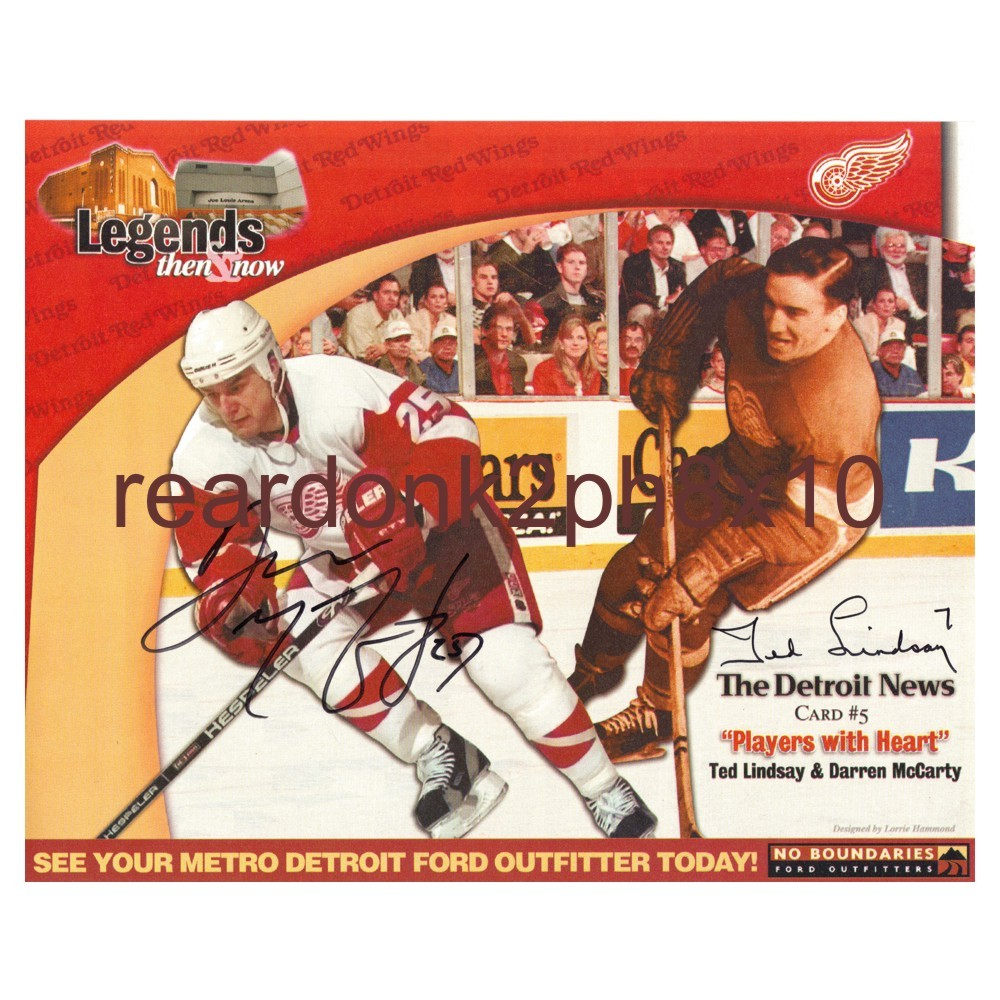 Daren McCarty & Ted Lindsay Autographed 8x10 Detroit News Card