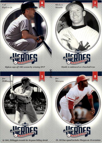 Photo of 2002 Upper Deck Prospect Premieres Heroes of Baseball 85 Quads #18 Ripken/Mantle/DiMag/Morg
