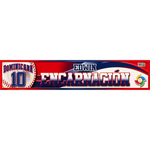 Photo of 2013 World Baseball Classic: Edwin Encarnacion (DR) Game-Used Locker Name Plate