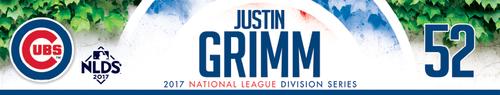 Justin Grimm Game-Used Locker Nameplate -- NLDS Game 3 -- Nationals vs. Cubs -- 10/9/17