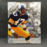 HOF - STEELERS MEL BLOUNT SIGNED 16X20 CANVAS PRINT