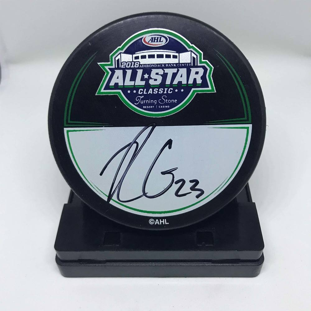 2018 AHL All-Star Classic Souvenir Puck Signed by #23 Rocco Grimaldi