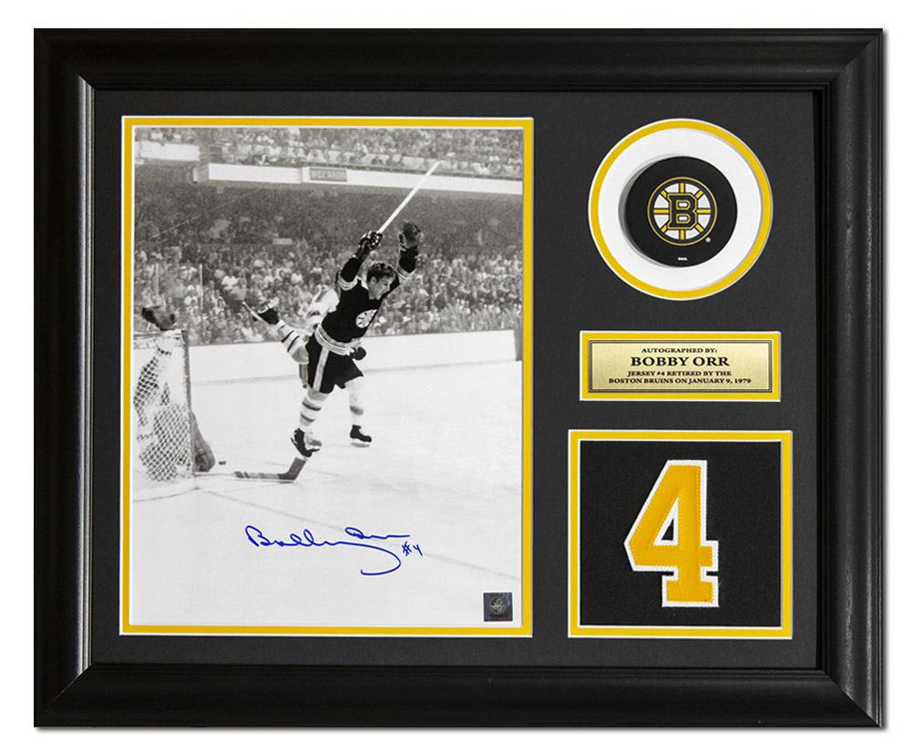 Bobby Orr Boston Bruins Signed Retired Jersey Number 23x19 Frame