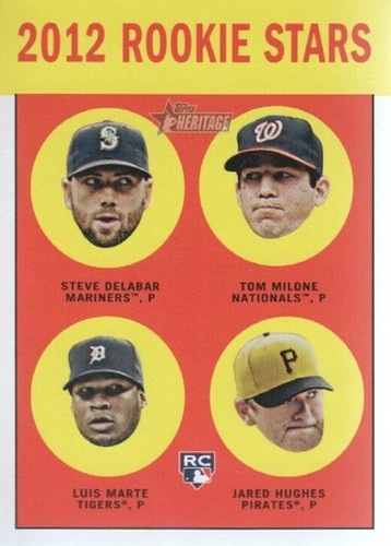 Photo of 2012 Topps Heritage #299 Steve Delabar RC/Tom Milone RC/Luis Marte RC/Jared Hughes RC