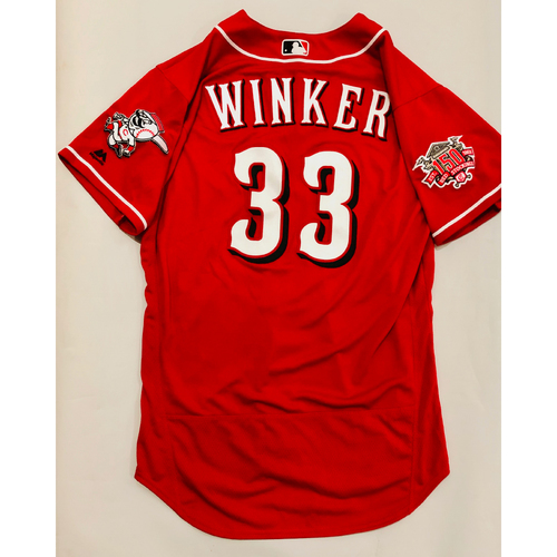 Photo of 2019 Mexico Series Game Used Jersey - Jesse Winker Size 44 (Cincinnati Reds)