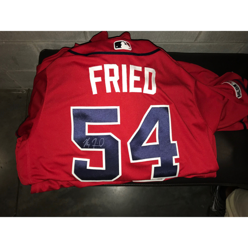Photo of Max Fried Game-Used Autographed Jersey