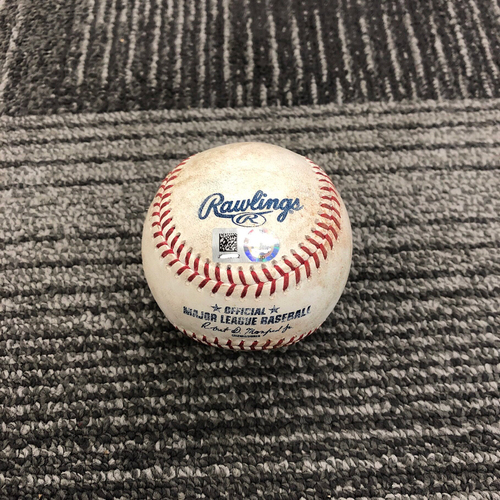 Photo of 2019 Game Used Baseball used on 4/13 vs Colorado Rockies - B-3: Kyle Freeland to Gerardo Parra - Single to LF