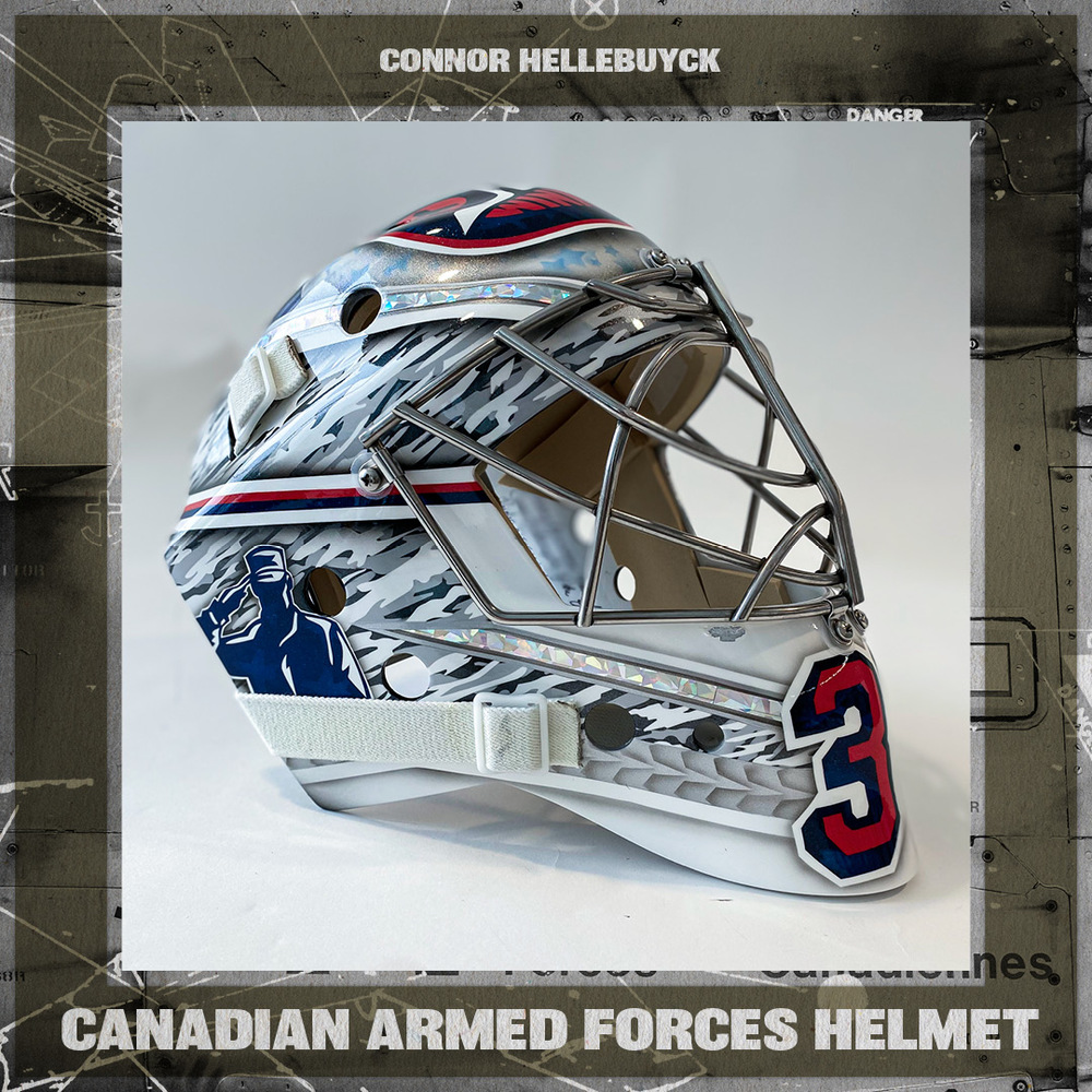 CONNOR HELLEBUYCK  Game Worn Canadian Armed Forces Goalie Mask