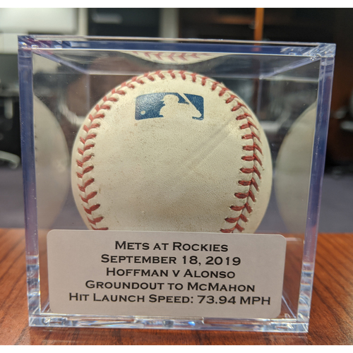 Colorado Rockies Game-Used Baseball - Pitcher: Jeff Hoffman, Batter: Pete Alonso (Groundout to McMahon) - September 18, 2019 vs New York Mets