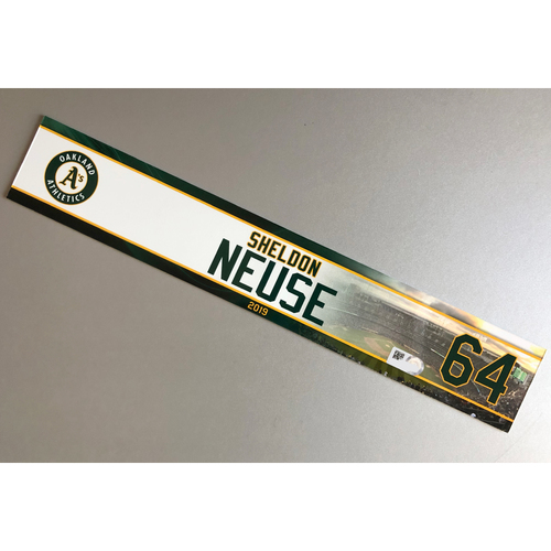 Photo of Team-Issued Sheldon Neuse 2019 Locker Nameplate