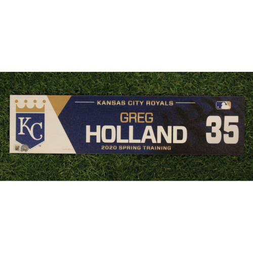 Photo of Game-Used Spring Training Locker Tag: Greg Holland #35