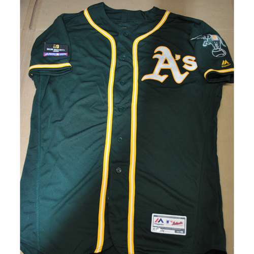 Photo of Game-Used Jersey - 2019 Japan Series - Oakland Athletics at Nippon Ham Fighters - 3/18/2019 - Stephen Piscotty