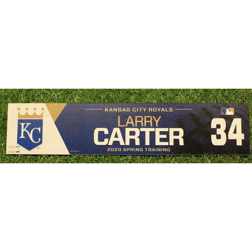 Photo of Game-Used 2020 Spring Training Locker Tag: Larry Carter #34