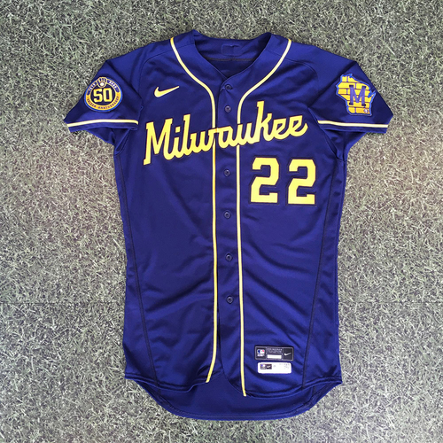 Photo of Christian Yelich 2020 Game-Used Road Navy Jersey