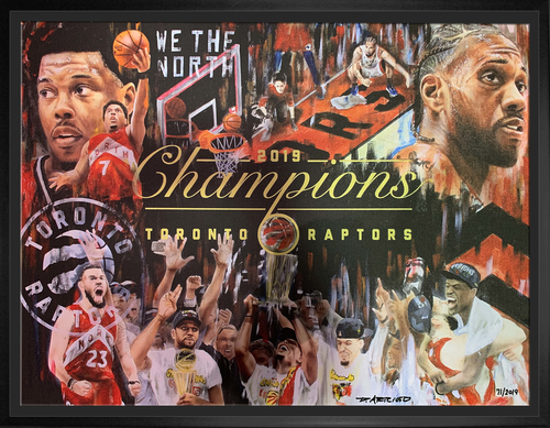 20x27 Raptors NBA Champions Artist Print Canvas Framed
