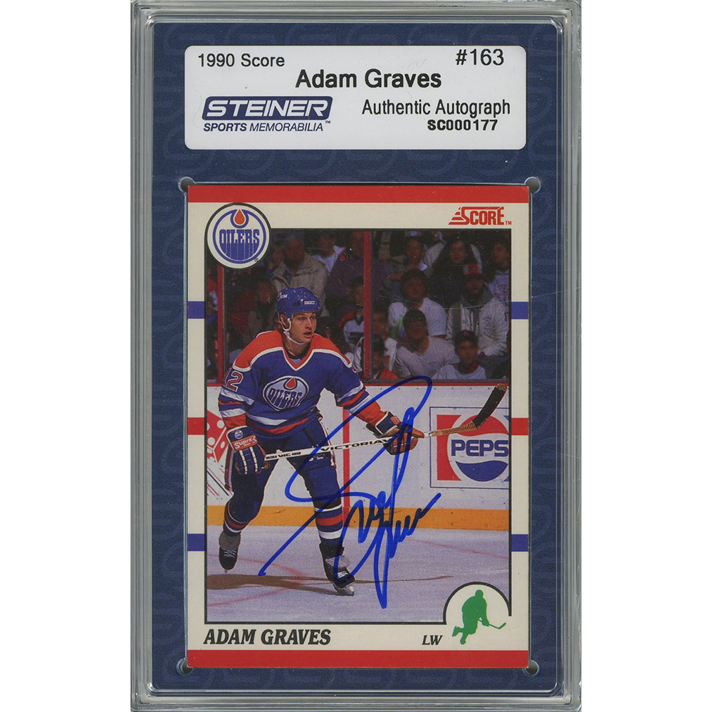 Adam Graves Signed 1990-91 Score Rookie Card #163 (Slabbed