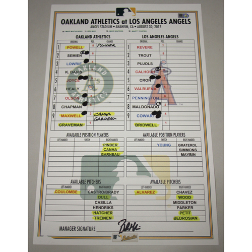 Photo of Lineup Card - 8/30/17 Oakland Athletics at Los Angeles Angels