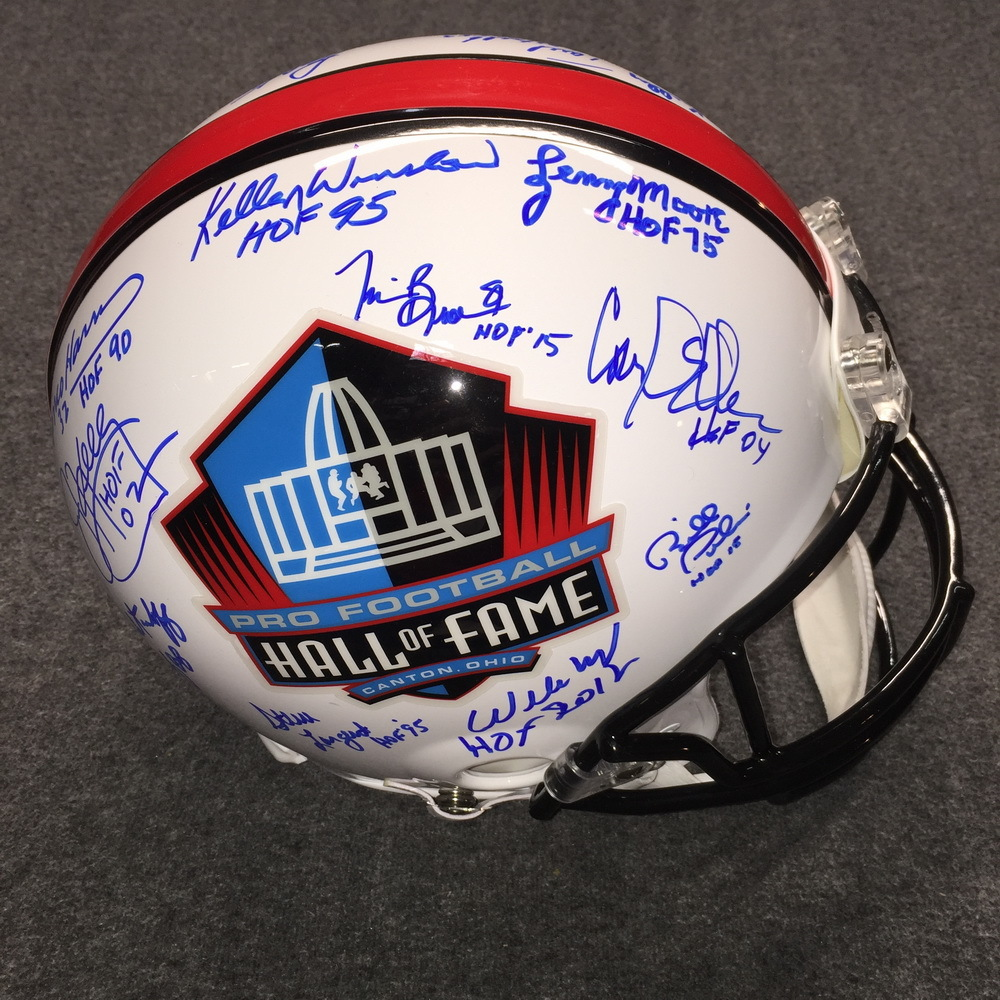 HOF - Multi Signed HOF logo proline helmet (Jim Kelly, Franco Harris, Kellen Winslow, Fred Biletnikoff, Steve Largent, over 20 signatures)