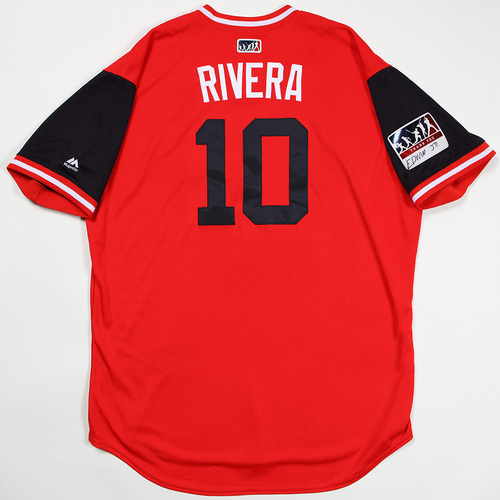 "Photo of Edwin ""Rivera"" Encarnacion Cleveland Indians Game-Used Jersey 2018 Players' Weekend Jersey"