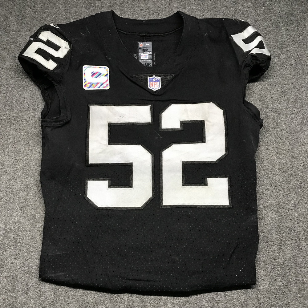 Crucial Catch - Raiders Khalil Mack game worn Raiders jersey w  Captains  Patch (October ce50a1d7c
