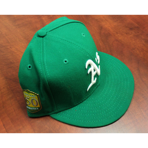 Photo of Dustin Fowler Game-Used Kelly Green Hat w/ 50th Anniversary Patch