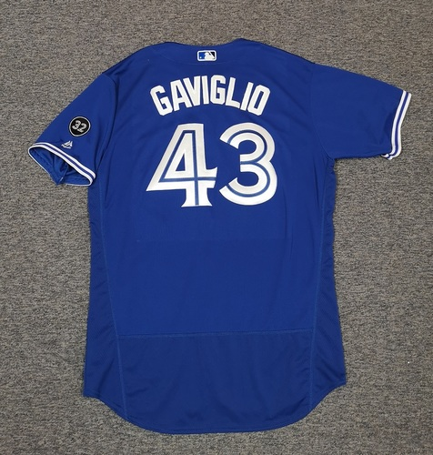 Photo of Authenticated Team Issued Jersey - #43 Sam Gaviglio (2018 Season). Size 48.