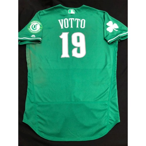 Photo of Joey Votto -- Game-Used Jersey -- 2019 St. Patrick's Day