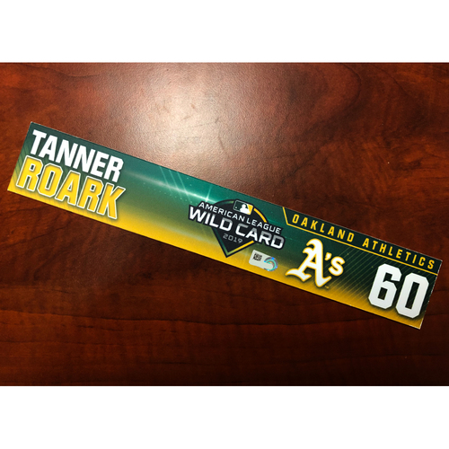 Photo of Tanner Roark Game-Used 2019 A.L. Wild Card Locker Nameplate