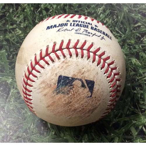 Photo of Game Used Baseball 09/02/17 WSH@MIL - Brandon Woodruff - Trea Turner: Strikeout