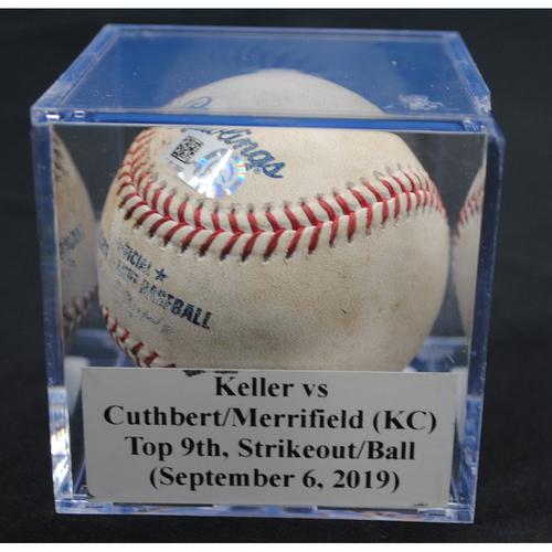 Photo of Game-Used Baseball: Kyle Keller vs Cheslor Cuthbert/Whit Merrifield (KC), Top 9th, Strikeout/Ball in Dirt (September 6, 2019)