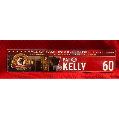 Photo of Pat Kelly -- Game-Used Reds Hall of Fame Induction Locker Tag -- 2018 Season - 7/21/2018