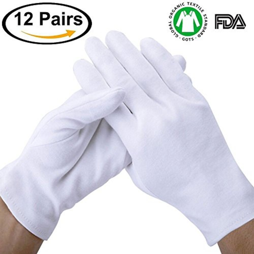 """Photo of Lizoyona White Soft 100% Cotton Thicker for Home Working Coin Jewelry Silver Inspection Formal Marching Band Parade CD/DVD, Handling Gloves Extra Large Size 8"""" Length(12 Pair)"""