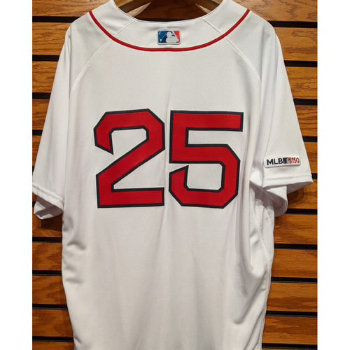 Photo of Steve Pearce #25 Team Issued Home White Jersey