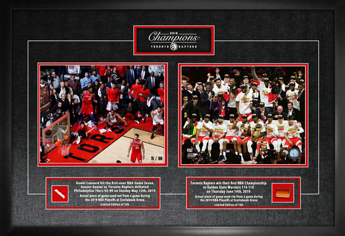 Raptors NBA Champions Duo 8x10 Photo w/ Game Used Netting and Rim Framed