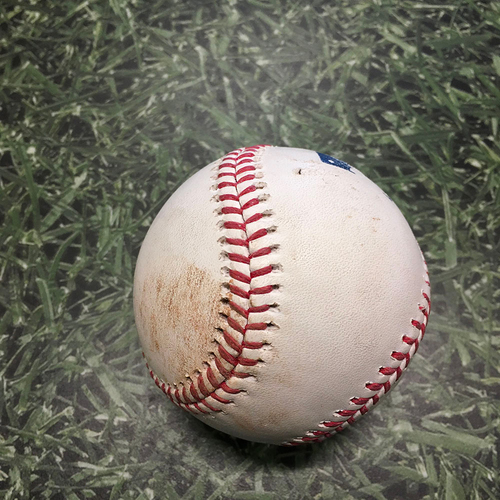 Photo of Game-Used Baseball MIA@MIL 04/26/21 - Corbin Burnes - Sandy Leon (Strikeout); Trevor Rogers (Strikeout); Jazz Chisholm (Foul)