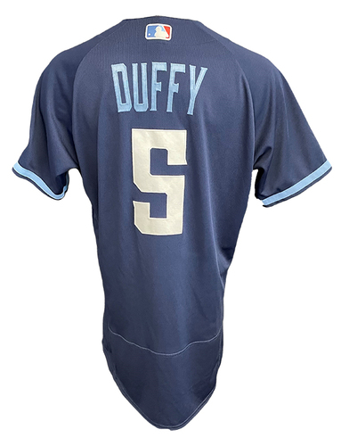 Photo of Matt Duffy Game-Used Jersey - City Connect - Cardinals vs. Cubs Game 1 of DH - 9/24/21 - Size 42