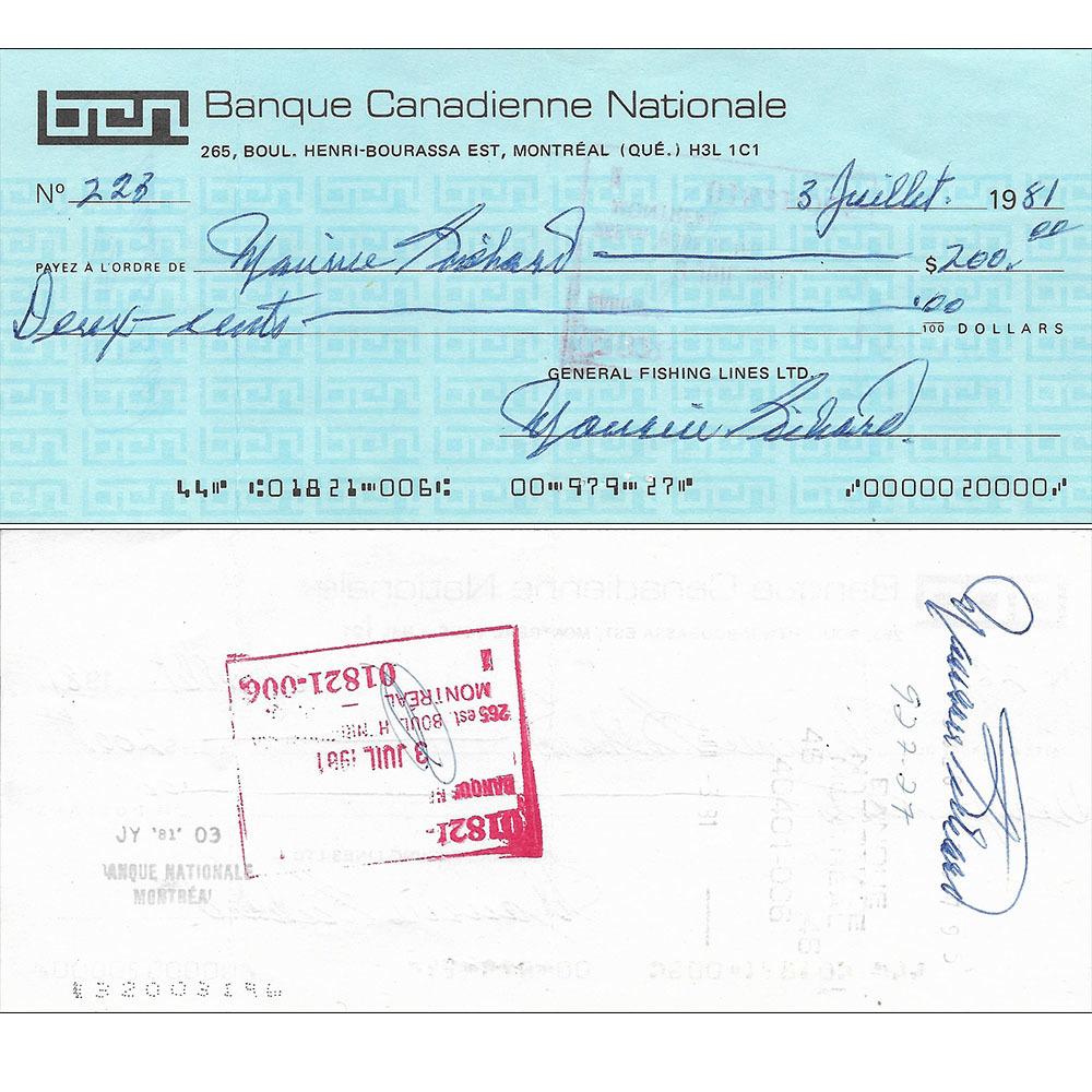 Maurice Richard Triple-Signed Check