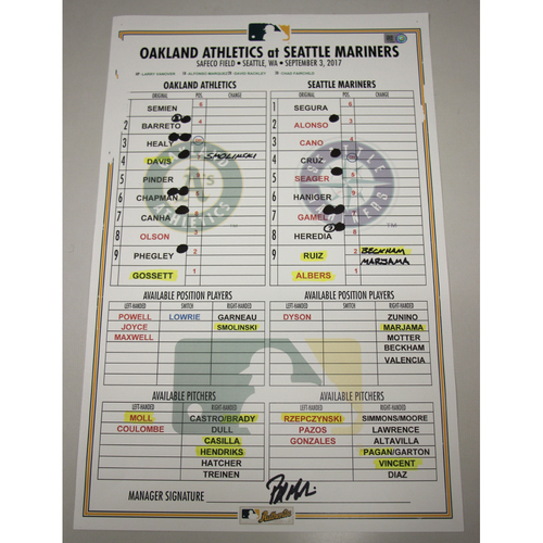 Photo of Lineup Card - 9/3/17 Oakland Athletics at Seattle Mariners