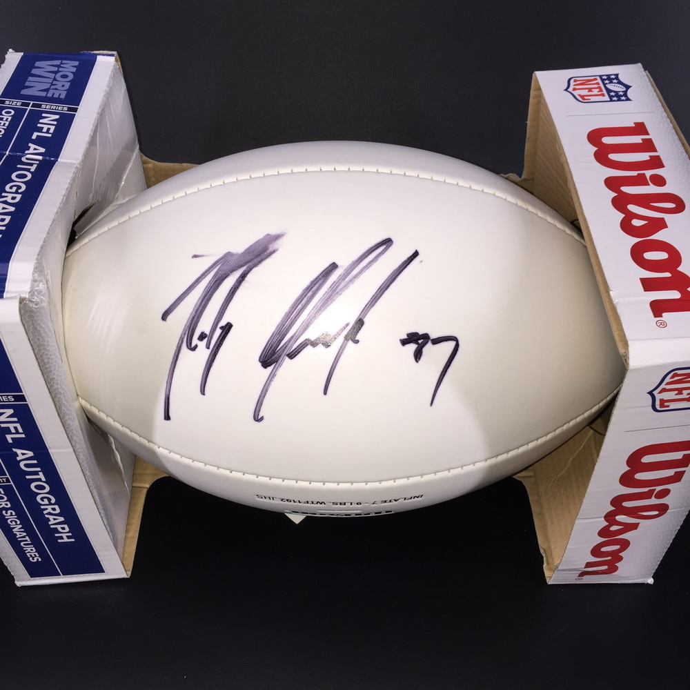 Patriots - ROB GRONKOWSKI SIGNED PATRIOTS LOGO PANEL BALL (SMUDGE ON SIGNATURE)