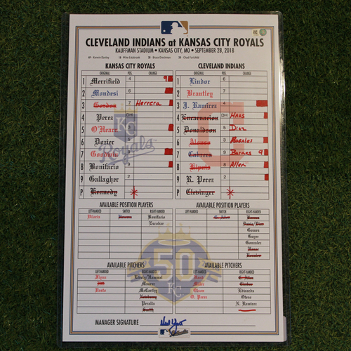 Photo of Game-Used Line-Up Card: Josh Donaldson 5th Career Grand Slam (CLE @ KC  9/28/18)