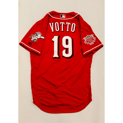 0fb72f88e 2019 Mexico Series Game Used Jersey - Joey Votto Size 44 (Cincinnati Reds)