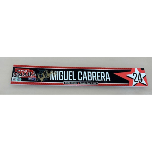 Photo of Autographed Game-Used Locker Tag MLB In Omaha: Miguel Cabrera
