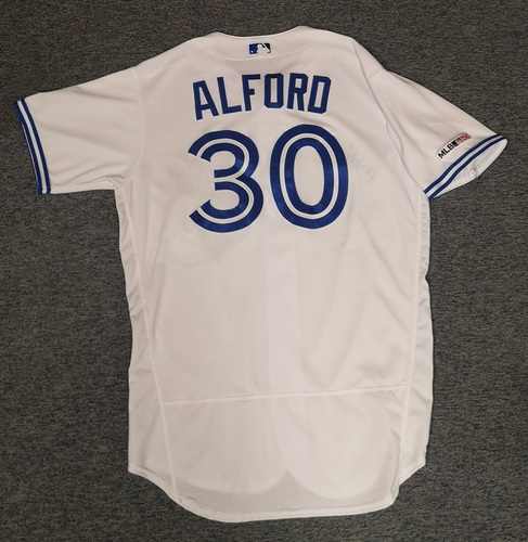 Photo of Authenticated Game Used Jersey: #30 Anthony Alford (Apr 2, 19 vs BAL: 0-for-3). Size 46