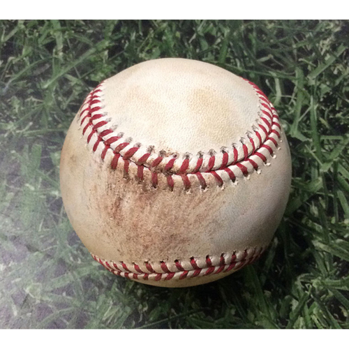 Photo of Game-Used Baseball MIA@MIL  07/02/17 - Junior Guerra - Giancarlo Stanton: Strikeout