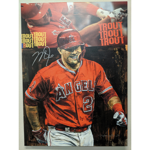 Photo of Mike Trout Autographed Stephen Holland Giclée Canvas