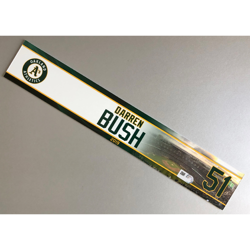Photo of Team-Issued Darren Bush 2019 Locker Nameplate